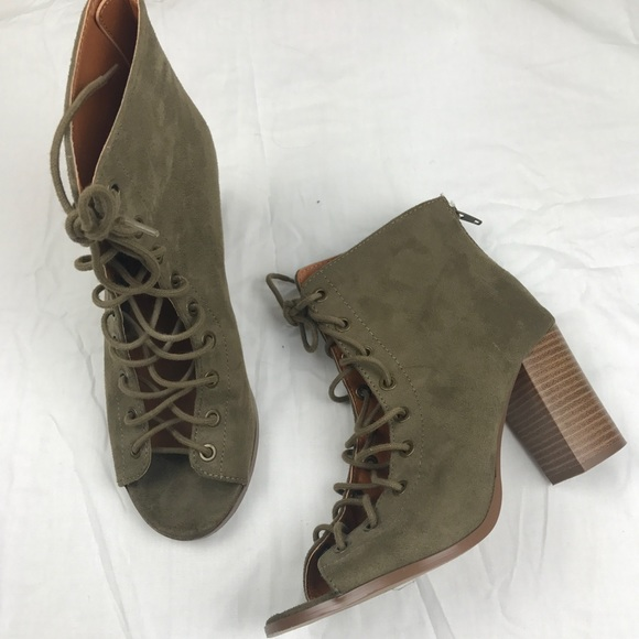 f597c7dccf15 Charlotte Russe Shoes - Charlotte Russe Lace Up Booties in Army Green